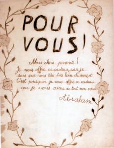 """Non coté Fonds OSE Château de Chabannes 19. Page 1. Abraham, un petit garçon de la maison de l'OSE installée dans le Château de Chabannes, écrit à ses parents. """" Ces enfants qui rient le jour et pleurent la nuit ... """"."""